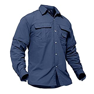 TACVASEN Work T Shirts for Men Business Formal Casual Shirt Long Sleeve Tee Top Army Working Button TShirt Workwear Navy Blue