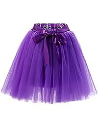 LINNUO Falda de Tul de Princesa de La Falda de Disfraz Mujer Enagua Oscilación Tutú Organza