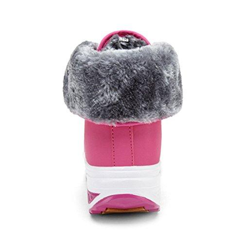 Minetom Donna Inverno Caldo Peluche Foderato Stivali Merletto Impermeabile Altopiano Scarpe Sportive Moda Camoscio Stivaletti Martin Boots Rosa