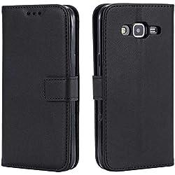 DENDICO Coque Galaxy Core Prime, Ultra Mince Coque de Protection en Cuir pour Samsung Galaxy Core Prime, Portefeuille Housse avec Stand Support et Carte de Crédit Slot - Noir