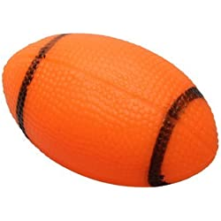 Juguete de masticacion de mascota - SODIAL(R)Juguete chirriado del perro para Juguete de masticacion de perro mascota Pelota de rugby chirriada de caucho pequena Naranja