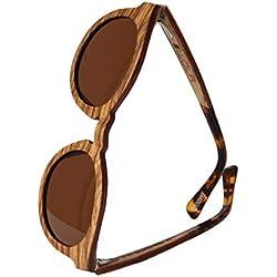 WOLA estilo de redonda gafas de sol en madera BAUM mujer y hombre madera, sunglasses UV400 - polarisado zebrano