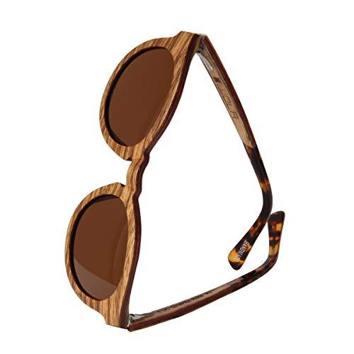 WOLA Damen Sonnenbrille Holz BAUM Brille rund Vollholz und Acetat polarisiert UV400 Zebraholz Unisex Damen M - Herren S
