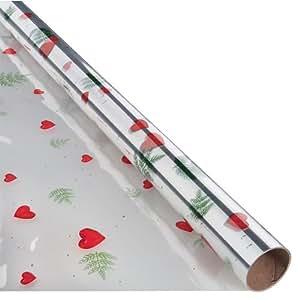 Rouleau film fleuriste - papier cellophane imprimé avec motif Noël coeurs et sapins - papier cadeau transparent Noël - 2,5m x 0,70m - emballage cadeau de Noël