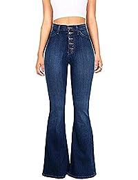 98f07e23044be BIRAN Jeans Évasés Flatteurs pour Femmes À La Décontractée Kick breal Mode  Flare Bootcut Pantalon Simple Boutonnage avec Poches…