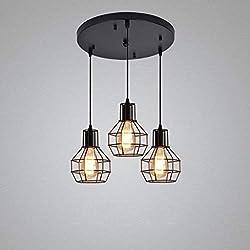 TMPJJ Pendelleuchte Deckenleuchten Lampe Kronleuchter Vintage Industrie Metall Kronleuchter Loft Rustikale Hängelampe Leuchte für Kücheninsel Esstisch Flur Schlafzimmer (Größe: Runde Ceili