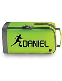 Los niños de personalizado bolsa para botas de fútbol, Lime Green / Black Print
