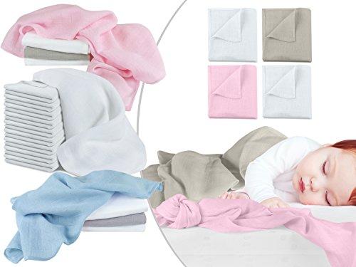 Mullwindeln - Spucktücher - Stoffwindeln im Vorteilspack - 10er Pack weiß oder 4er Pack in 2 verschiedenen Farbkombinationen - Einheitsgröße ca. 70 x 70 cm, 4er Pack - rosa weiß taupe