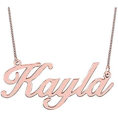 Hacool Collar de oro plateado de la plata esterlina 18k Rose por encargo con cualquier nombre