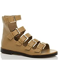 5d64a106166 Ajvani Womens ladies gladiator caged buckle flat low heel zip cut out  sandals size