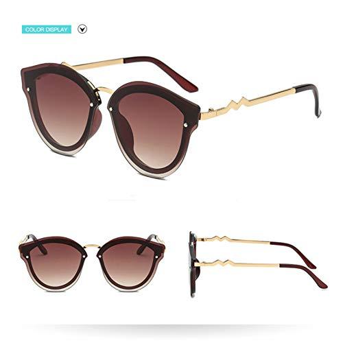 Taiyangcheng Metal plástico Ojo de gato Gafas de sol Mujeres Colorido Negro Gafas Mujer Oval,marrón