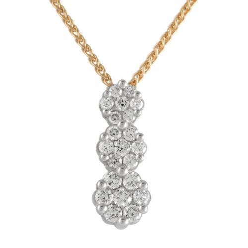 Bella Donna - Collier da donna con diamante (0,4 ct), due ori 14k (585), 450 mm, cod. 919563