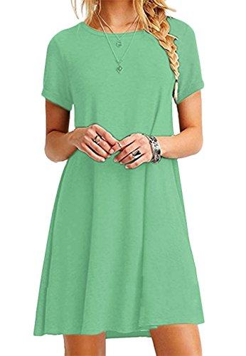 eid Lockeres Shirtkleid Basic Longshirt Rund Ausschnitt T-Shirtkleid,Hell Grün,S ()