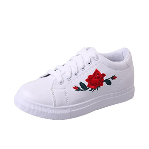 Stiefel Damen Flache Schuhe Sonnena Turnschuh Frauen Plateau Stiefel Sport Running Sneakers Stickerei Blumen Schuhe Kunstleder Schnürstiefel Frühling Herbst Outdoor Stiefel (38, Sexy Weiß) (Frühling Schuhe Stiefel)