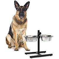 Relaxdays Comedero Elevado Doble para Perros y Gatos, Acero Inoxidable, Plateado, 2.15 L