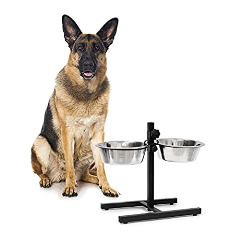 Relaxdays Stainless Steel Feeding Bowl Set Of 2 With Height-Adjustable Stand, Dog Feeding Station With 2 Removable Bowls Cat Feeder Metal Elevated Raised Standing Feeder Bowl Set, Large, Silver