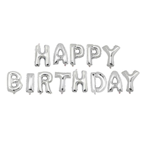 NUOLUX 21inch letras del alfabeto Globos Happy Birthday Party Decoración Mylar Foil Carta Globos (Plata)