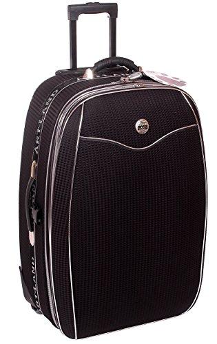 Reisekoffer XL, Koffer, Trolley, mit Dehnfalte, schwarz