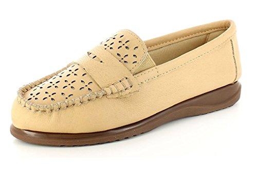 Donna Nero Beige Taupe in pelle elastica piatta Slip On scarpe casual Beige
