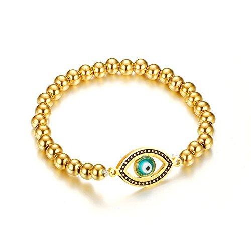 OMZBM Evil Eye Runde Perlen Armband Vergoldet Charm Edelstahl Stretch Armband Schmuck Für Frauen Und Mädchen 6Mm