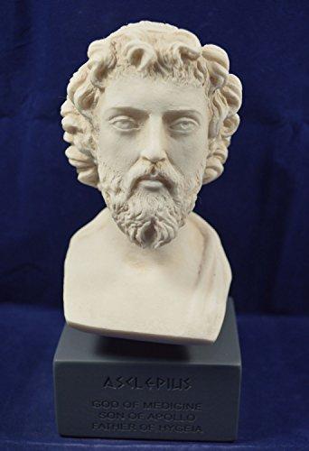 Esculapio Escultura Estatua antiguo dios griego de medicina Museo reproducción Busto