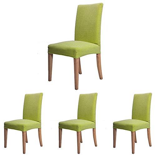 Coprisedie con schienale elasticizzato sala da pranzo cucina microfibre poliesteri spandex jacquard coperture sedie protezione (verde, 4 pezzi)