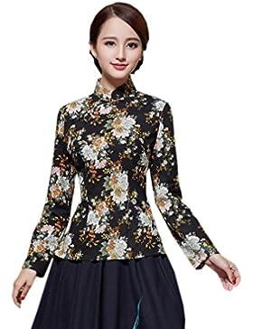 YueLian Mujeres Disfraz Oriental Chaqueta De Manga Larga Retro Estampado La mejora de Cheongsam Camisetas