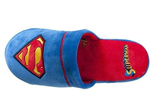 Superheld Schuhe (Superman DC Comics Warner Bros Herren Offiziell Weiches Plsch Slip Auf Maultier-hausschuhe, Blau - Rot, 38/41 EU)