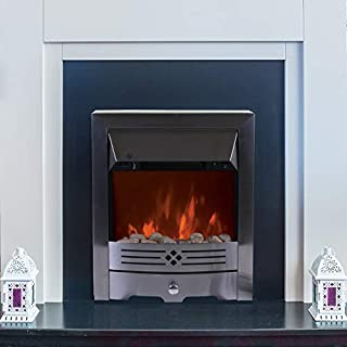 Marko arko Electrical 2000W Silver Brushed Steel Electric Fireplace Heater Fire Freestanding or Inset Flame Effect Stove