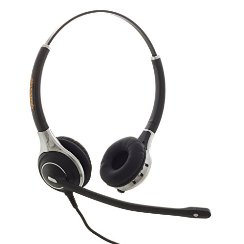 Premium Double Ear Noise Cancelling Office/Call Centre Headset With U10P Bottom Cable works with Mitel, Nortel, Avaya Digital, Polycom VVX, Shoretel, Aastra + Many More Avaya-digital-headset
