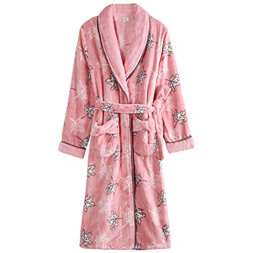 Kitrack Bademantel Frottier Flanell Roben Luxury Weiche Robe Cozy Fluffy FüR Frauen,M