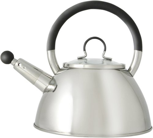 Ready Steady Cook Bistro Stainless Steel Stove Top Whistling Kettle with Glass Lid, Silver and Black