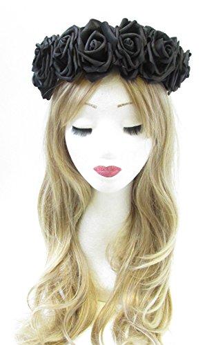 Grand noir rose cheveux fleur couronne bandeau Guirlande Festival Vintage Big V44 * * * * * * * * exclusivement vendu par – Beauté * * * * * * * *