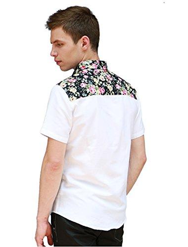 Allegra K Herren Kurzärmelig Blumenmotiven Hemd Weiß