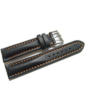 Orig. Watchband Berlin - Uhrenarmband - stark gepolstert - Glatt - schwarz orange Naht - 22mm