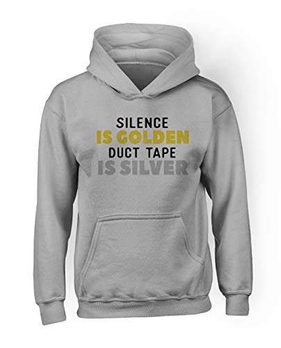 RiotBunny Silence is Golden Duct Tape is Silver Komisch Cool Herren Hoodie Sweatshirt Grau X-Large (Fashion Cool Tape Duct)