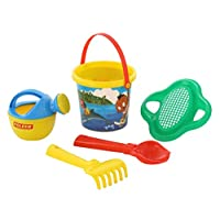 Polesie 672 210 Decorated Sieve, Shovel No.2, Rake No. 2, Watering Can No.3-Sets: Flower Bucket, Small, Multi Colour