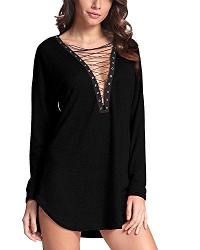 VONDA Damen Minikleid Tiefe V-Ausschnitt Sexy Kleid Langarm Tshirt Kleid  Casual Langes Shirt Schwarz 2XL 9cc51455cb