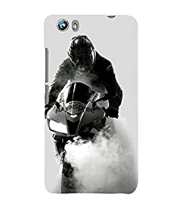 PrintVisa Designer Back Case Cover for Micromax Canvas Fire 4 A107 (Speed bike design :: Racing Bike Design :: Extrodinary bike designer :: Smoke ride design :: Speed Racer design wallpaper)