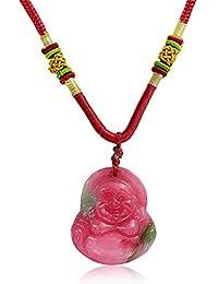 Bling Jewelry Riendo Buda Jade teñido sintético cuerda colgante Collar rojo