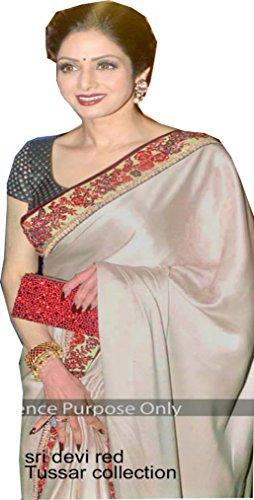 Sunshine Fashion Cream Color Satin Chiffone Georgettete, Fabric Multy Saree ( New...