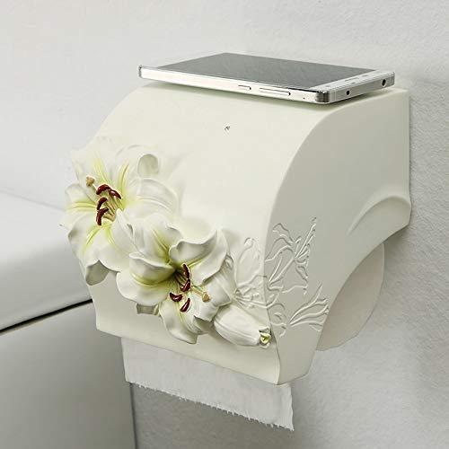 ZXQZ Papierhandtuchhalter, Nordic Home Geschnitzte Blume Badezimmer Wasserdichte Rolle Holde