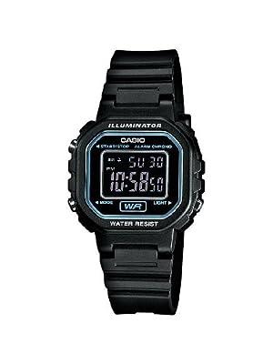 CASIO Collection Women - Reloj digital de mujer de cuarzo con correa de resina negra (alarma, cronómetro, luz)