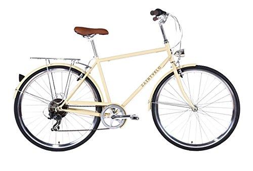 SAINTVELO CYCLES BIAGIO V7 - BICICLETA PASEO PARA HOMBRE DE 7 VELOCIDADES  CUADRO DE ACERO TALLA 54  FRENOS V-BRAKE  HORQUILLA ACERO Y RUEDAS DE 28  COLOR BEIGE