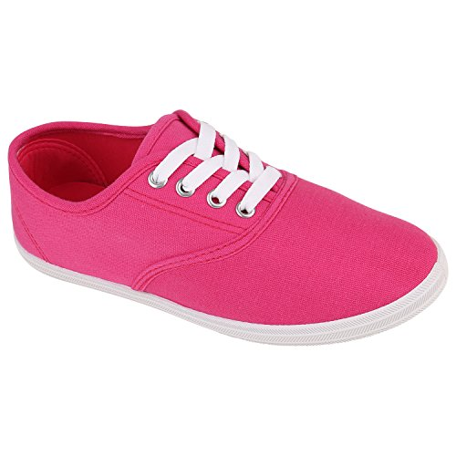 Damen Herren Slipper Sneaker Stoffschuhe Turnschuhe Sommer in mehreren Farben 36-45 Pink Fuchsia