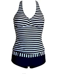 Maillot de bain femme Tankini 2 pièces shorty + top marin rayé bleu marine et blanc