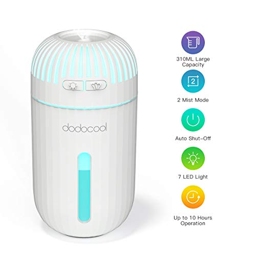 dodocool Umidificatore Ambiente Ultrasuoni,310ML Purificatore d'Aria Profumo Diffusori Auto con Luci LED a 7 Colori, Mini USB Umidificatore Foschia Fredda per Camera, Auto e Ufficio
