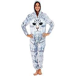 Selena Secrets Femmes/Femmes Imprimé Chat Molleton à Capuche Combinaison Tout en Un Pyjama Combinaison Taille 10-20 - Chat Combinaison, EU 42-44