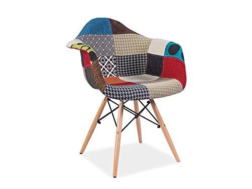 Design Klassiker Patchwork Sessel Retro 50er Jahre Barstuhl Wohnzimmer Küchen Stuhl Esszimmer Sitz Holz Leinen