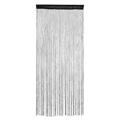 sourcingmap® Haus Polyester Fenster Schnur Perlen Vorhang Zimmer Trennwand 100x200cm schwarz (Perlen-fenster)